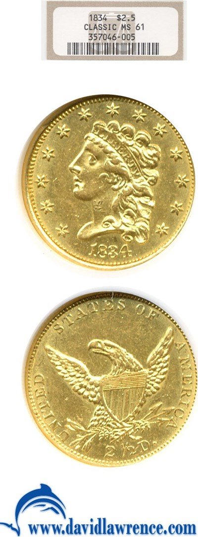 Image of 1834 $2 1/2 Classic NGC MS61