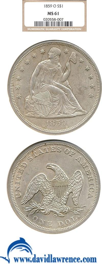Image of 1859-O $1  NGC MS61