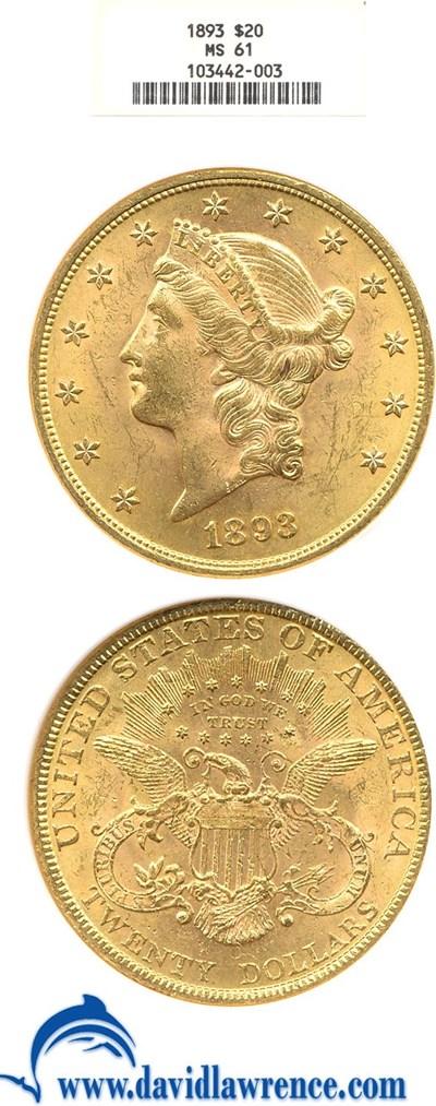 Image of 1893 $20  NGC MS61