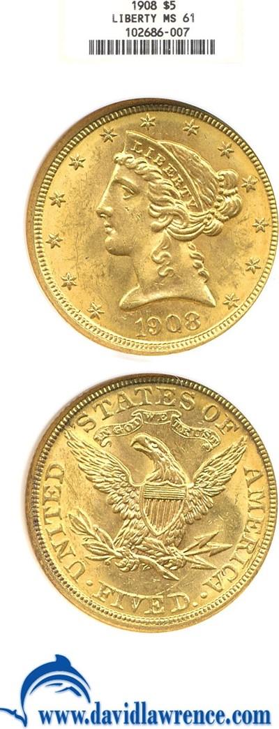 Image of 1908 $5 Liberty NGC MS61