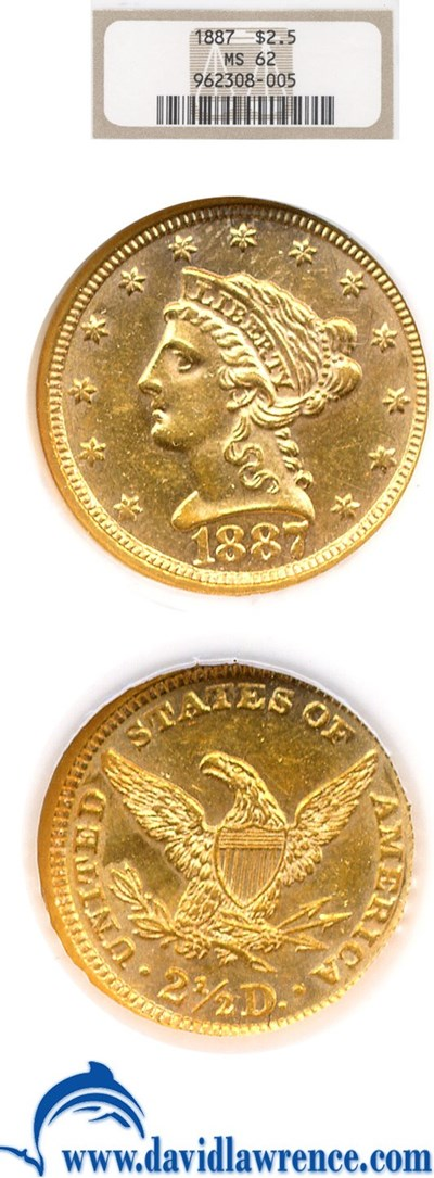 Image of 1887 $2 1/2  NGC MS62