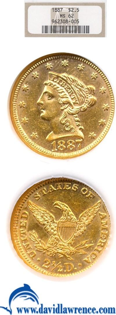 Image of 1887 $2 1/2  NGC MS62