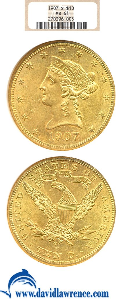 Image of 1907-S $10  NGC MS61
