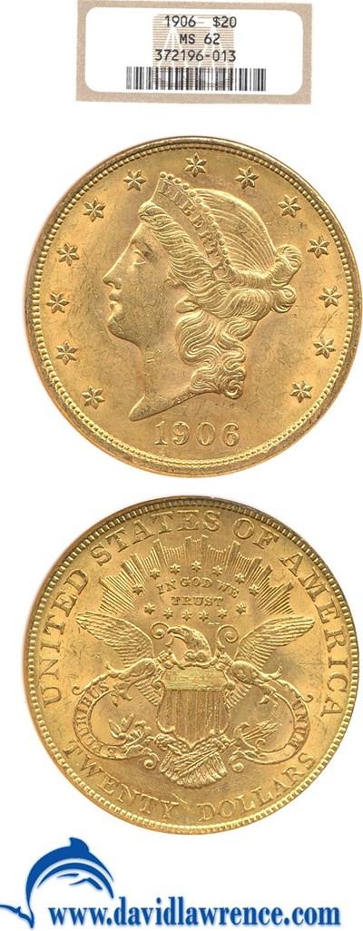 Image of 1906 $20  NGC MS62
