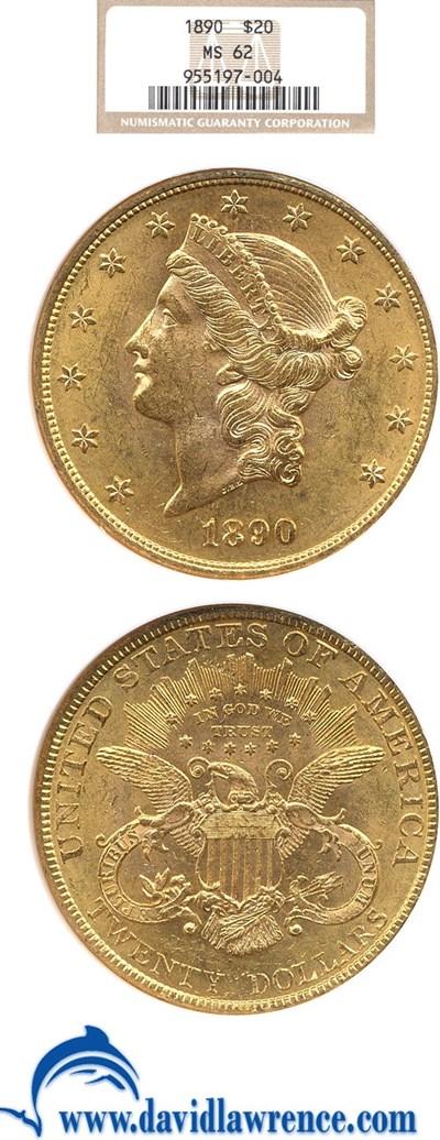 Image of 1890 $20  NGC MS62