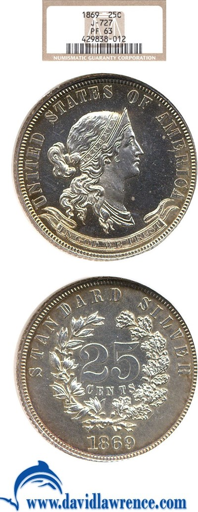 Image of 1869 Pattern 25c (Judd-727) NGC Proof 63