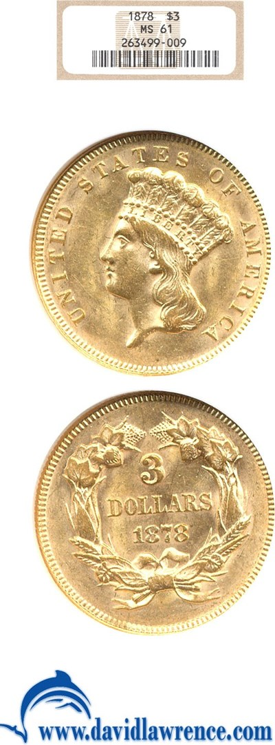 Image of 1878 $3  NGC MS61