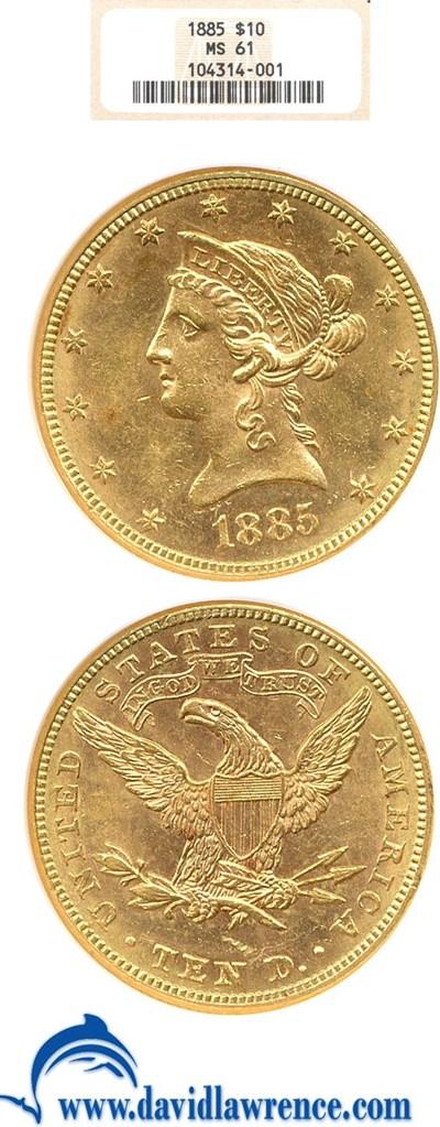 Image of 1885 $10  NGC MS61