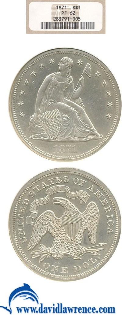 Image of 1871 $1  NGC Proof 62