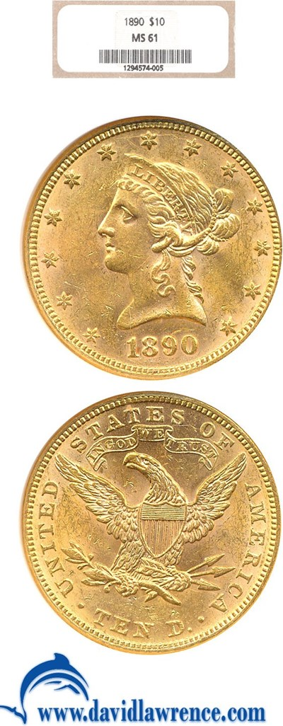 Image of 1890 $10  NGC MS61