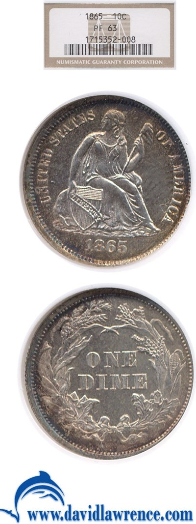 Image of 1865 10c  NGC Proof 63