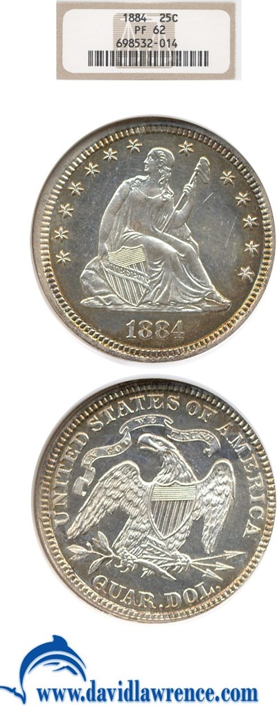 Image of 1884 25c  NGC Proof 62