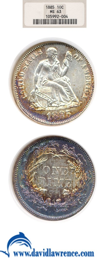 Image of 1885 10c  NGC MS63 ** Color **