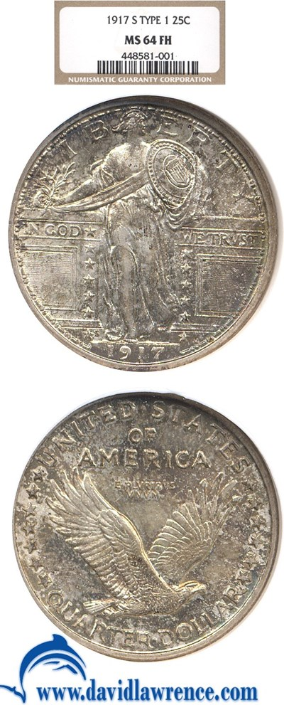 Image of 1917-S 25c Ty.1 NGC MS64 FH
