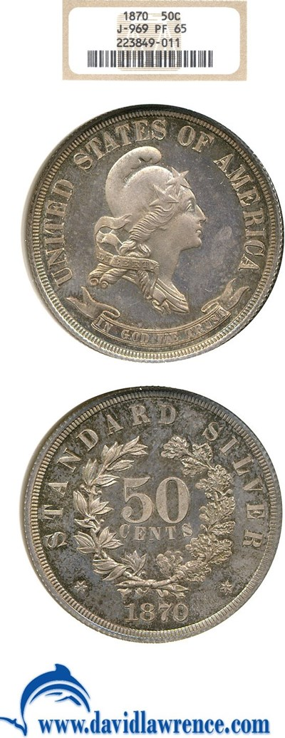 Image of 1870 Pattern 50c NGC Proof 65 (Judd-969)