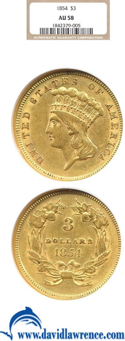 Image of 1854 $3  NGC AU58