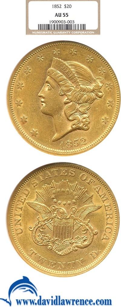 Image of 1852 $20  NGC AU55