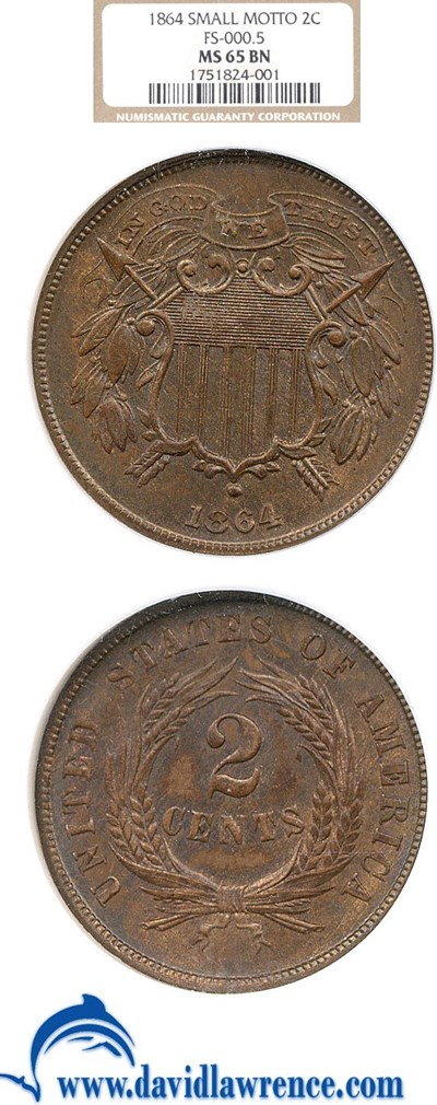 Image of 1864 2c Sm. Motto NGC MS65 BN (FS-000.5)