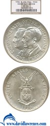 Image of U.S. Philippines: 1936 Peso Roosevelt & Queson NGC MS64