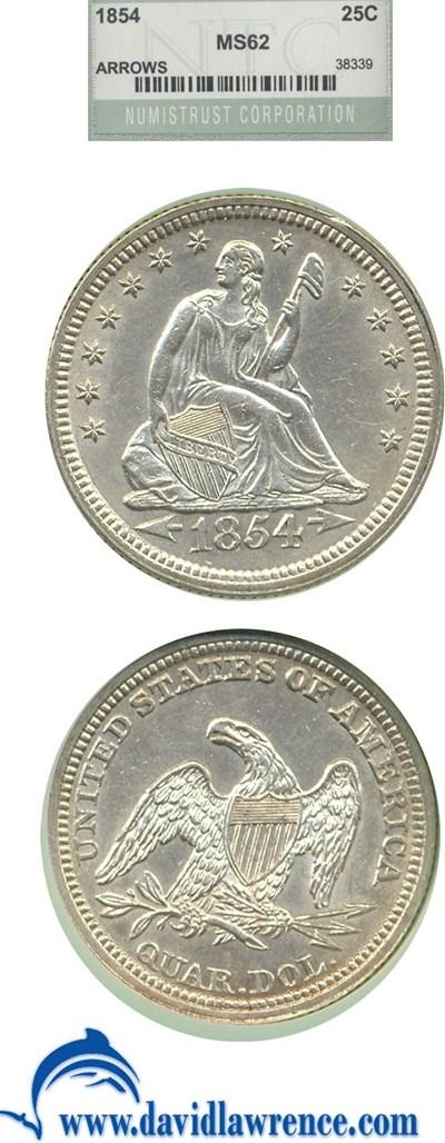 Image of 1854 25c Arr. NTC MS62 (DLRC Grade: MS60)