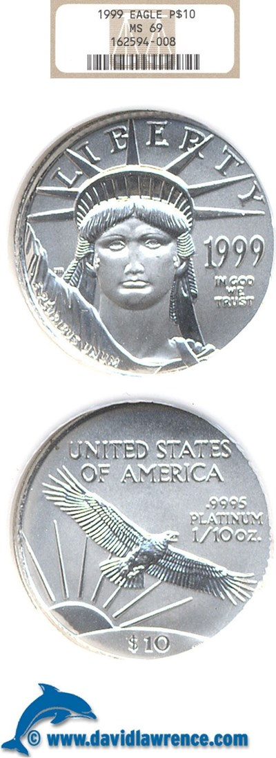 Image of 1999 $10 Platinum Eagle NGC MS69