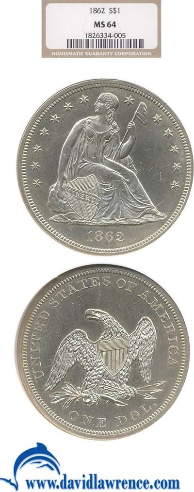 Image of 1862 $1  NGC MS64