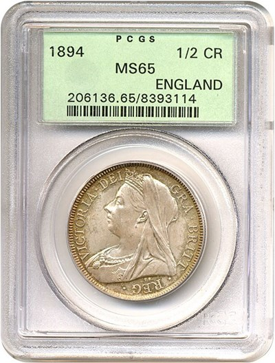 Image of Great Britain:  1894 1/2 Crown PCGS MS65