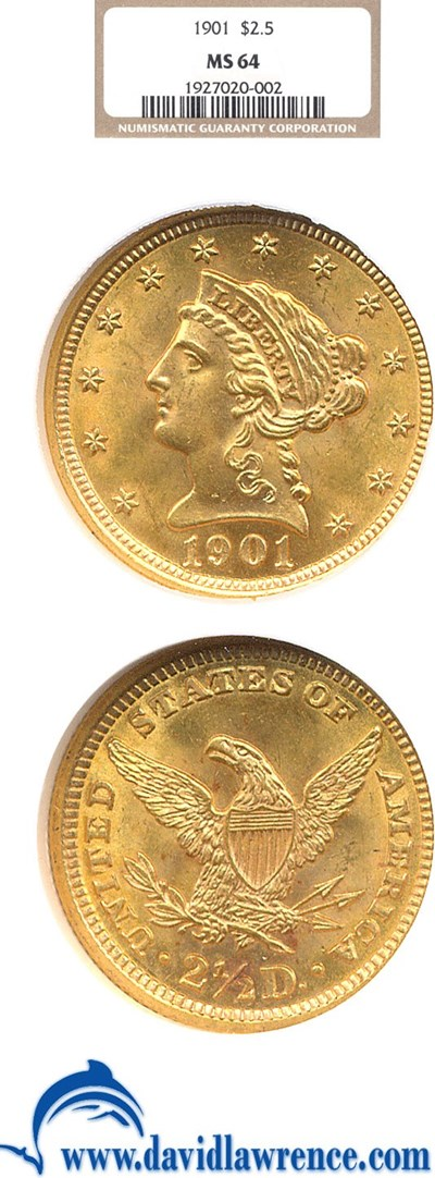 Image of 1901 $2 1/2  NGC MS64