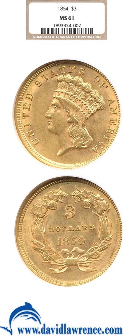 Image of 1854 $3  NGC MS61
