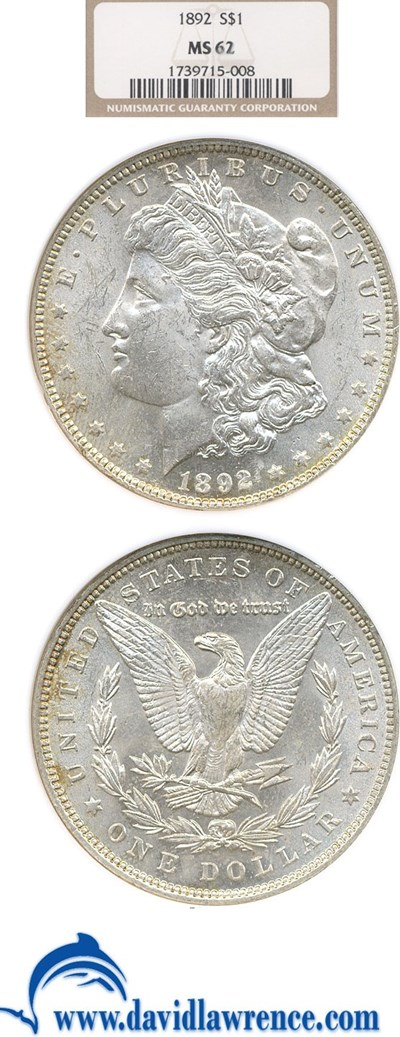 Image of 1892 $1  NGC MS62
