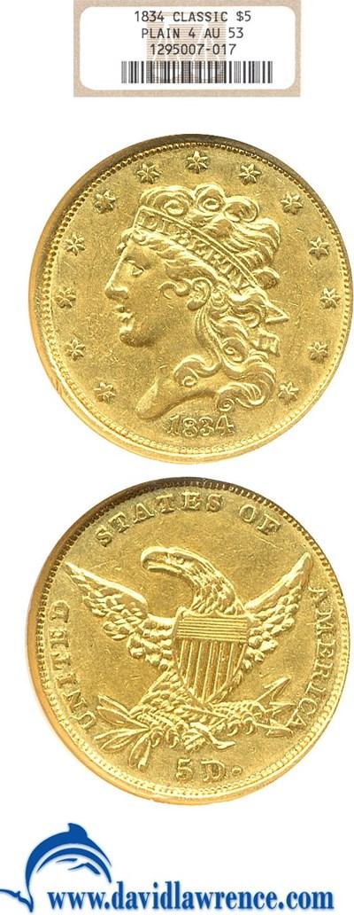 Image of 1834 $5 Plain 4 NGC AU53