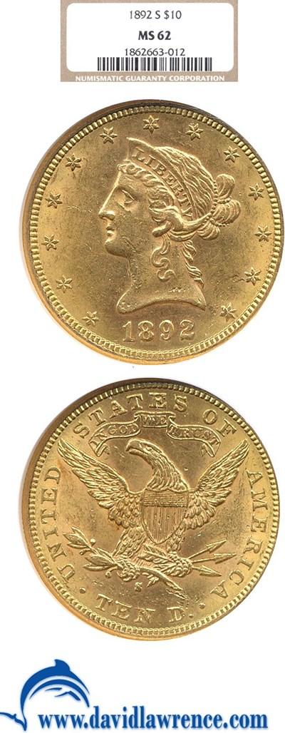 Image of 1892-S $10  NGC MS62