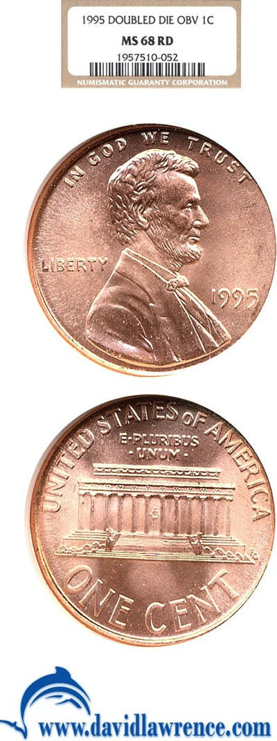 Image of 1995 1c Doubled Die Obverse NGC MS68 RD