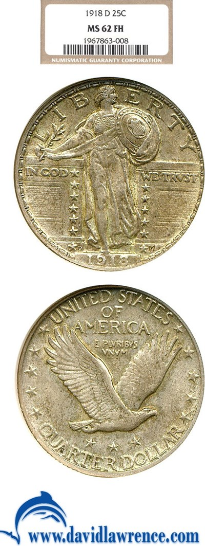 Image of 1918-D 25c  NGC MS62 FH