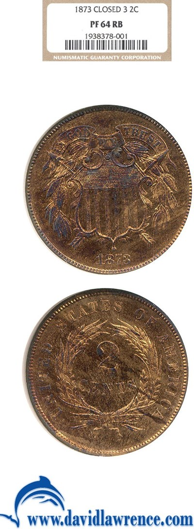 Image of 1873 2c Closed 3 NGC Proof 64 RB