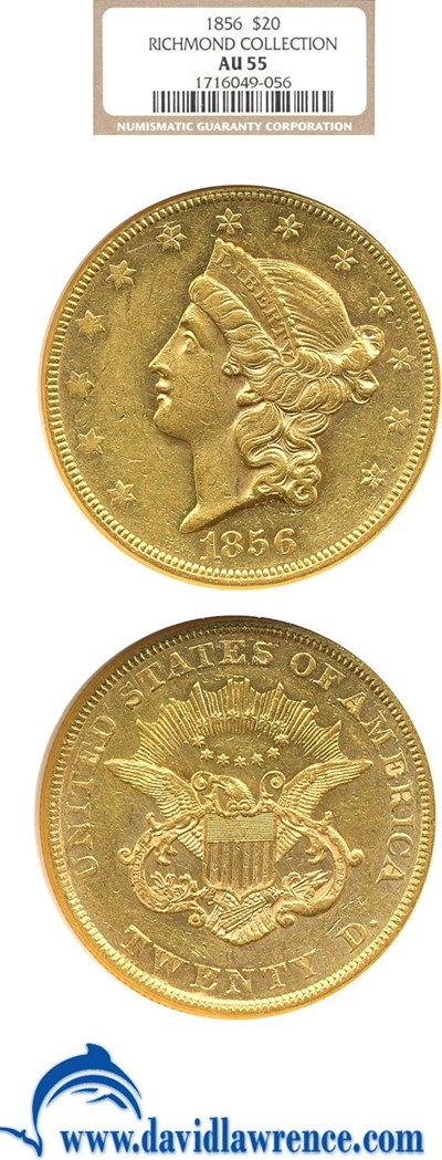 Image of 1856 $20  NGC AU55 ex: Richmond Collection