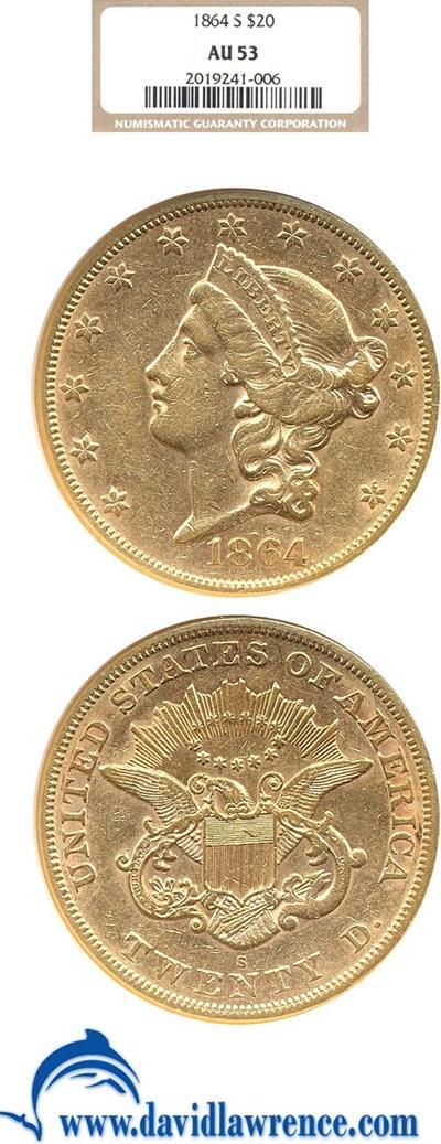 Image of 1864-S $20  NGC AU53