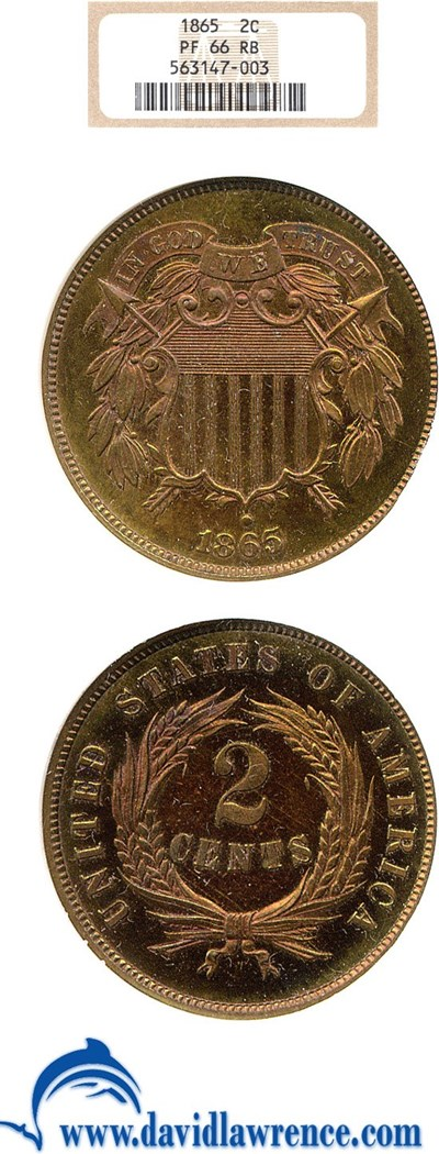 Image of 1865 2c  NGC Proof 66 RB