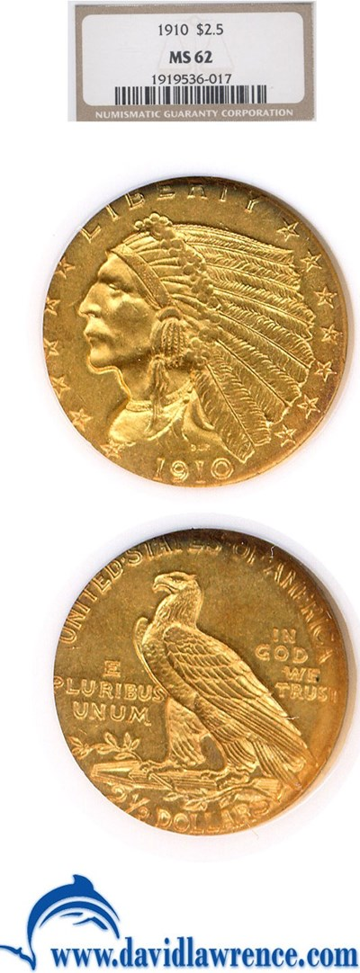 Image of 1910 $2 1/2  NGC MS62