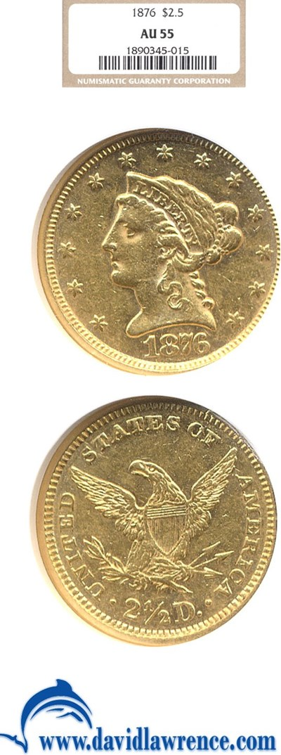 Image of 1876 $2 1/2  NGC AU55