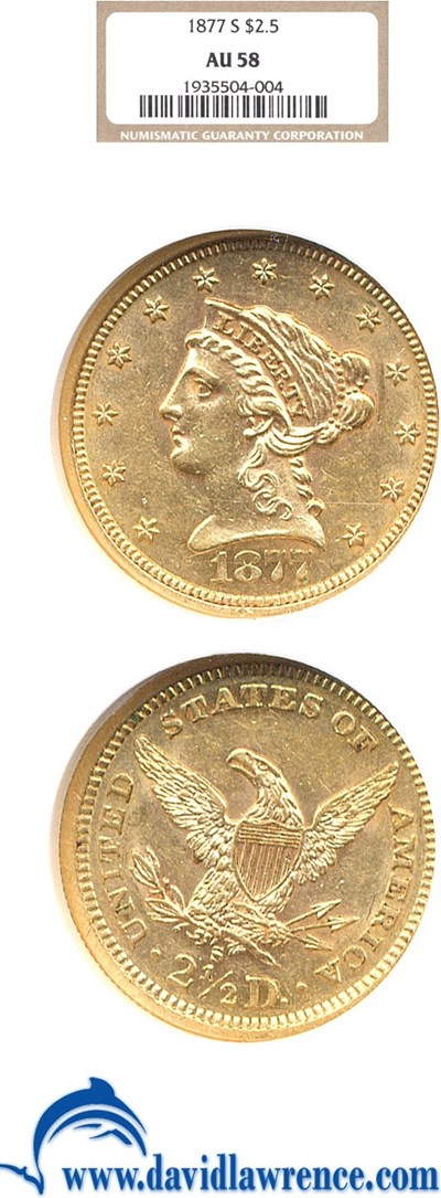 Image of 1877-S $2 1/2  NGC AU58