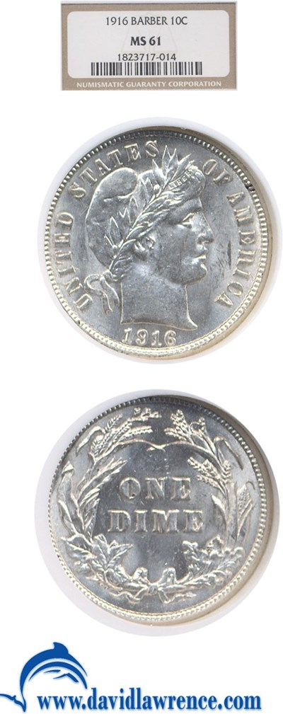 Image of 1916 10c Barber NGC MS61