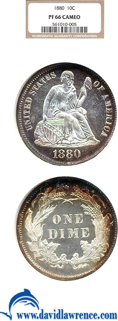 Image of 1880 10c  NGC Proof 66 Cameo ** Color **