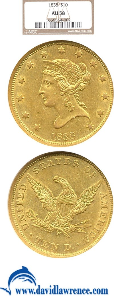 Image of 1838 $10  NGC AU58