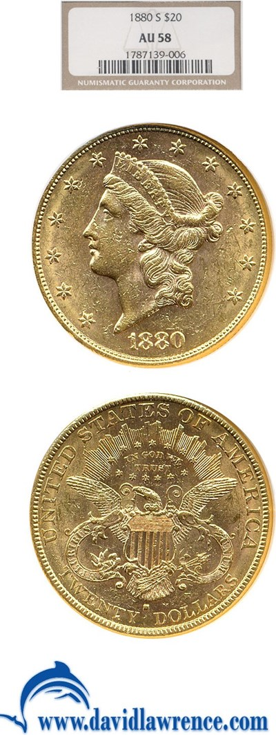 Image of 1880-S $20  NGC AU58