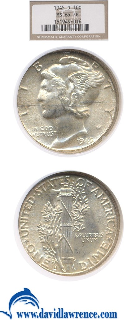 Image of 1945-D 10c  NGC MS65 FB