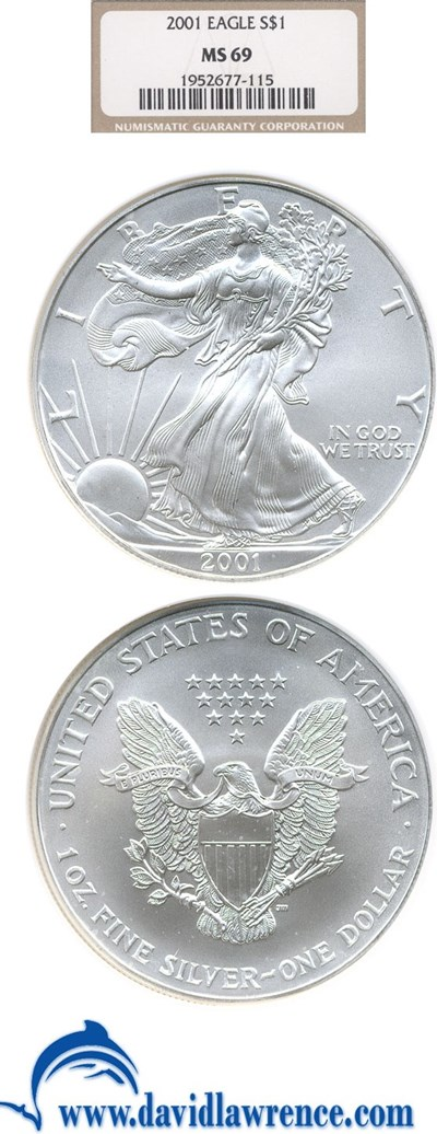 Image of 2001 $1 Silver Eagle NGC MS69