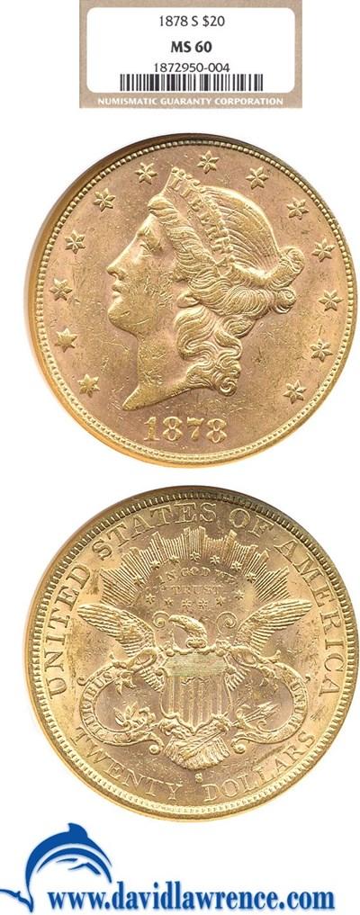 Image of 1878-S $20  NGC MS60