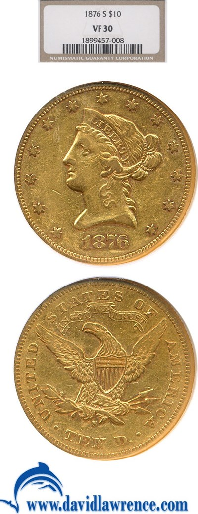 Image of 1876-S $10  NGC VF30