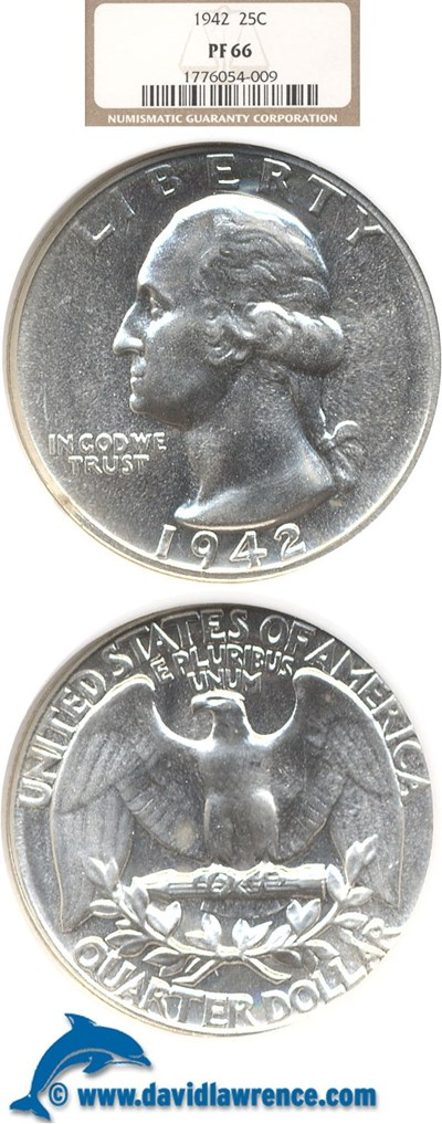 Image of 1942 25c  NGC Proof 66